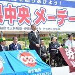 来賓挨拶をする小川右善社民党福島県連代表