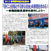 2013 春闘勝利総決起集会 「働くことを軸とする安心社会」の実現を求める!