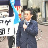 街頭で訴える 今泉裕連合福島会長