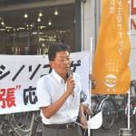 最低賃金引き上げを求めアピールする 連合福島加藤光一事務局長