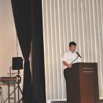 集会の進行をする、連合福島阿部薫副事務局長