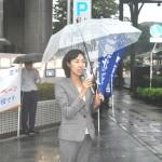連帯の挨拶をする民進党県連代表代行金子恵美衆議院議員