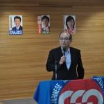 民進党福島県連からの報告とお願いをする亀岡義尚幹事長