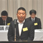 加盟の挨拶をする東双不動産管理労働組合 佐藤就執行委員長