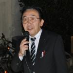 連帯挨拶をする、社民党県連代表紺野長人県会議員