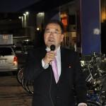 街頭キャンペーンの進行を務める遠藤徳雄連合福島副事務局長