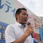 応援団の取り組み「最低賃金の引上げ、恒久平和」について訴える 佐藤 裕 連合福島副会長