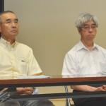 KAKKIN福島 鈴木三男議長(左)、原水禁福島県民会議 角田政志代表