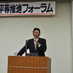 連合福島を代表して挨拶する 加藤光一事務局長