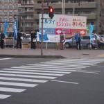 JR福島駅西口の街頭行動の様子