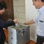 入場前に参議院選を前にした模擬投票を行いました