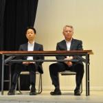 来賓のKAKKIN福島 遠藤議長(左)、原水禁福島県民会議 村上副代表